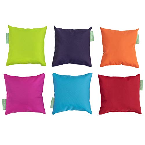 Gardenista Small Cushions with Covers | 6 Pcs Mixed Mini Bright Colours | Waterproof Small Pillow Set for Garden, Living Room, Sofa, Bed, Car | Hypoallergenic Foam Crumb Filled (20x20 cm)