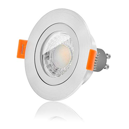 Ledox Led Bad Einbaustrahler Set IP44 dimmbar inkl. Forma Aqua Einbaurahmen fein gebürstet 230V 7W GU10 warmweiß mit 550 Lumen geeignet als Badezimmer Beleuchtung (3000K 10er Set)
