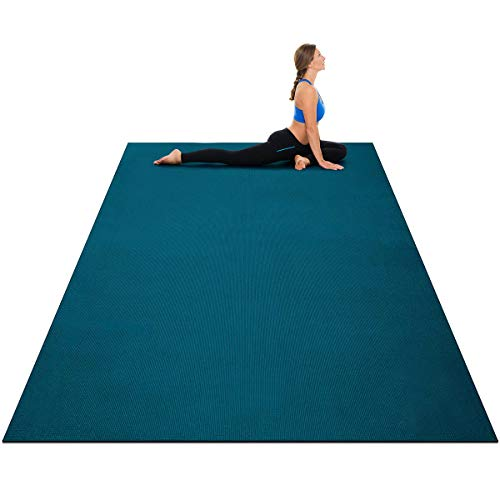 Goplus Large Yoga Mat, 7' x 5' x 8mm and 6' x 4' x 8mm with Straps, Eco Friendly Extra Thick Non Slip Barefoot Fitness Exercise Mat for Home Gym Floor Cardio Workout (Oasis Blue, 6'x4')