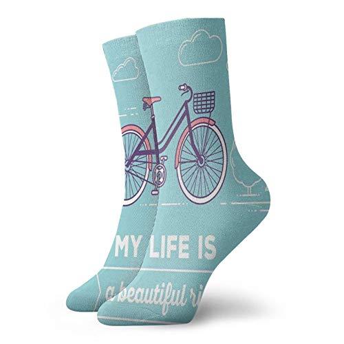 Calcetines cortos de longitud de pantorrilla suaves, estilo retro pastel con cesta y texto My Life Is A Beautiful Ride, calcetines para mujeres y hombres mejores para correr