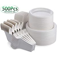 Fuyit 500-Piece Disposable Dinnerware Set for 100 Guests