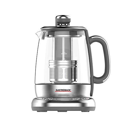 GASTROBACK 42440 Design Automat Advanced Plus, Automatischer Tee– und Wasserkocher (2 in 1), 24-Stunden-Einschalt-Timer, Edelstahl-Teefilter, 1,5 Liter Glasbehälter, 2.000 Watt, Glas, silber