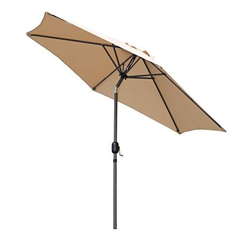 Angel Living 270cm Parasol de Jardín Sombrilla de Aluminio con Mecanismo de Inclinación Sombrilla con Mástil de Aluminio de 38mm para Jardín Patio Playa (Beige)