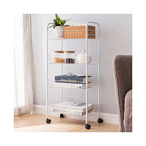 XGJJ scaffale da cucina a 4 strati, scaffale mobile per bagno, con ruote, salvaspazio e multifunzione, scaffale