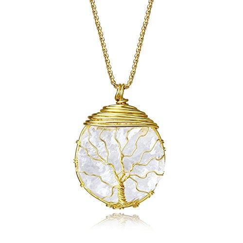 COAI Collar Largo de Acero Inoxidable con Colgante de Cristal de Cuarzo en Bruto con Árbol de la Vida