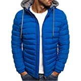 Men's Lightweight Warm Puffer Jacket Winter Down Jacket Thermal Hybrid Hiking Coat Water Resistant Packable Autumn Winter Blue