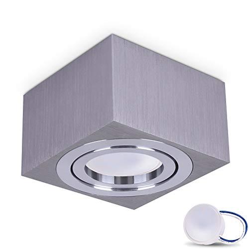 Preisvergleich Produktbild JVS Aufbauleuchte Aufbaustrahler Deckenleuchte Aufputz MILANO SMALL 5W LED Modul extra-flach Warmweiss 230V IP20 eckig silber schwenkbar Strahler Deckenlampe Aufbau-lampe Downlight aus Aluminium