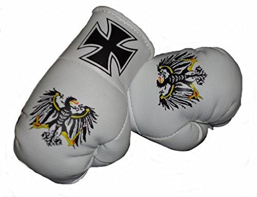 Sportfanshop24 Mini Boxhandschuhe EISERNES Kreuz/PREUSSEN Adler, 1 Paar (2 Stück) Miniboxhandschuhe z. B. für Auto-Innenspiegel