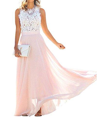 Minetom Estate Donna Vestito Lungo Elegante Senza Maniche Pizzo Chiffon Vestiti da Sera Vestito da Partito Spiaggia Pink IT 42