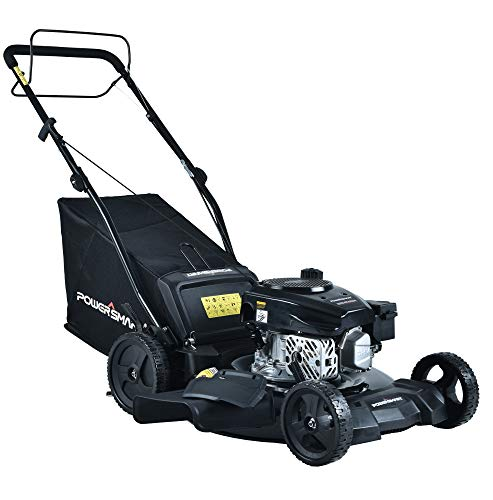 PowerSmart Lawn Mower, 21-inch & 170CC, Gas Powered Self-Propelled Lawn Mower with 4-Stroke Engine, 3-in-1 Gas Mower in Color Black, 5 Adjustable Heights (1.18''-3.0''), DB8621SR