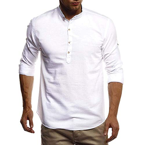 Adaoxy Hemd Herren Leinenhemd Herren Freizeithemd Henley Ärmellänge Regular Fit Kragenloses Shirt