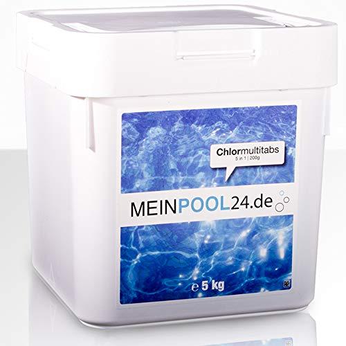 10 kg (2 x 5 kg) Chlor Multitabs 200 g 5 in 1 von Meinpool24.de - Für den Pool mit 5 Phasen Pflegewirkung für sauberes und hygienisches Poolwasser