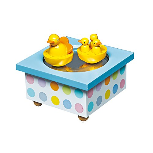 Trousselier - Ente & Babys - Tanzende Musikbox - Spieluhr - Ideales Geburtsgeschenk - 2 abnehmbare Figuren - Einfache Bedienung - Musik Rhapsodie Rachmaninov - Farbe blau