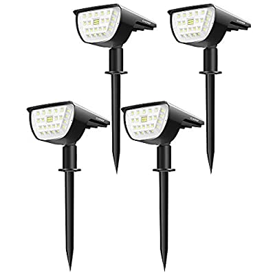 Claoner 32 LED Solar Landscape Spotlights, Wireless Waterproof Solar Landscaping Spotlights Outdoor Solar Powered Wall Lights for Yard Garden Driveway Porch Walkway Pool Patio- Cold White(4 Pack)