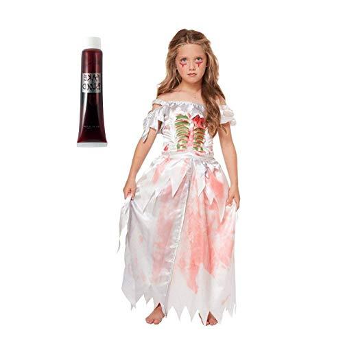 Be-Creative Disfraz de princesa de Zombi para nia de 7 a 9 aos de edad (disfraz de princesa zombi + juguete rojo)