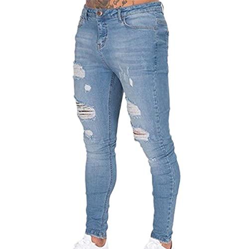 Faxkjeuls Street Hip-hop - Pantalones vaqueros ajustados para hombre, color negro, blanco, azul oscuro, azul claro, azul claro, 34-37