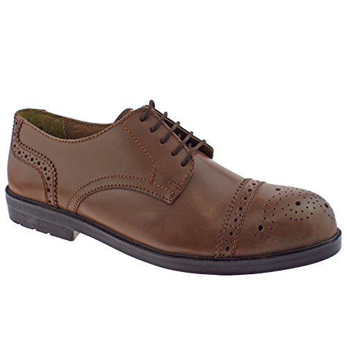 Lotus Mens Brogue II Brown Leather Lace UP Safety Shoes 89384-UK 6 (EU 40)
