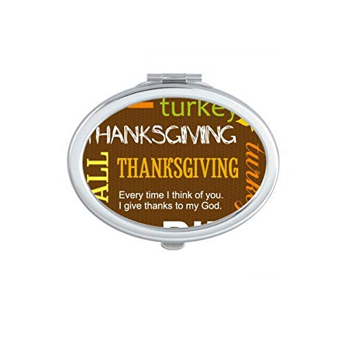 DIYthinker Turquie Grape Thanksgiving Day Motif Ovale Maquillage Compact Miroir de Poche Miroirs Mignon Petit Cadeau Portable à la Main Multicolor