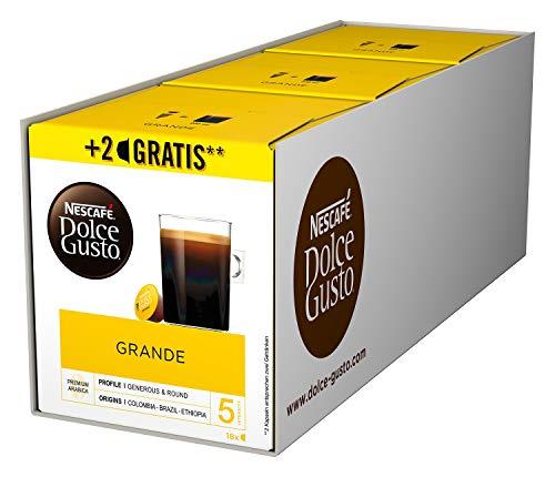 NESCAFÉ Dolce Gusto Grande Kaffee 54 Kaffeekapseln (100{33b3c8df7e43adf4e2f87dba912da67a93a176e25712088a6f1cca7fa9d18296} Arabica Bohnen, Feine Crema und kräftiges Aroma, Schnelle Zubereitung, Aromaversiegelte Kapseln) 3er Pack (3 x 16 + 2 Kapseln)