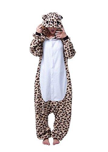 Pyjama Cosplay Karnevals Kostüme für Erwachsene Halloween Fest Party Tier Onesie Body Nachtwäsche Kleid Overall Animal Sleepwear Erwachsene Kigurumi Zoo Cosplay - Medium - Leopard