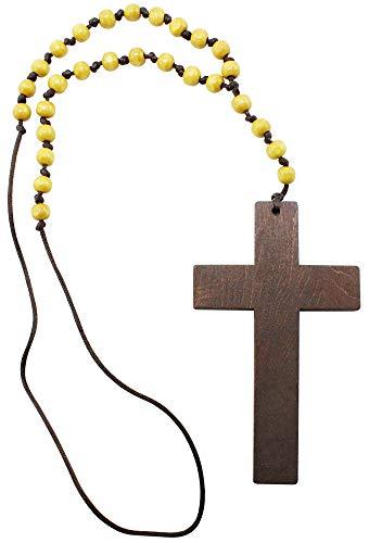 com-four® Halskette mit Kreuzanhänger - Kugelkette mit Priesterkreuz aus Holz - Modeschmuck für Halloween, Fasching, Karneval (Kreuz - Holz)