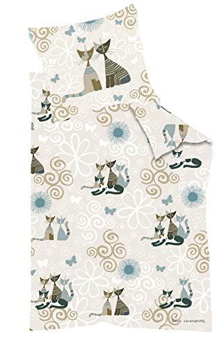 Rosina Wachtmeister Pussy Cat Wendebettwäsche Mako Satin Col. 5 Beige 135 x 200 cm