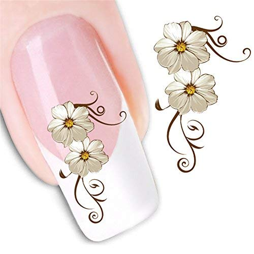 Selbstklebende 3D-Nagel-Aufkleber Blumen-Nagel-Abziehbilder für Frauen Mädchen Kinder Blumen-Aufkleber-Blätter für Fingernägel-Dekor Maniküre-Dekorationen(XF1013)