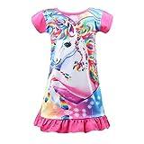 Nidoul Kid Girls Nightgown Night Dress Unicorn Rainbow Princess Pajamas Sleepdress Nightie