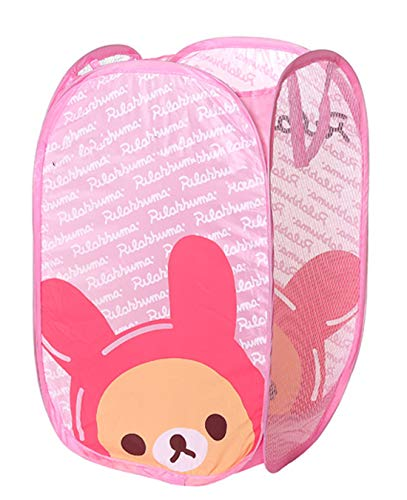 Cute Foldable Laundry Toys Tidy Clothes Socks Basket Storage Bag Pink PP Bear