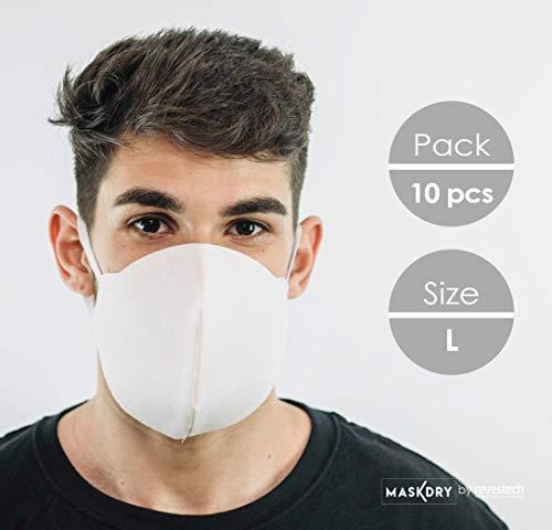 Pack 10 mascarillas higiénicas lavables 2 gomas. Talla L.