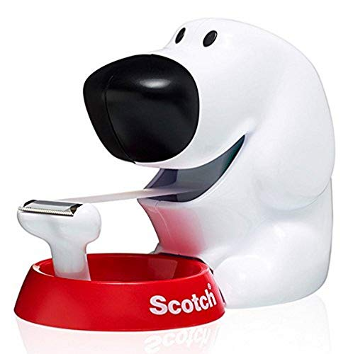 Scotch Dog-810 Handabroller in Hundeform (inkl. 1 Rolle Klebeband, 19 mm x 8,9 m) weiß