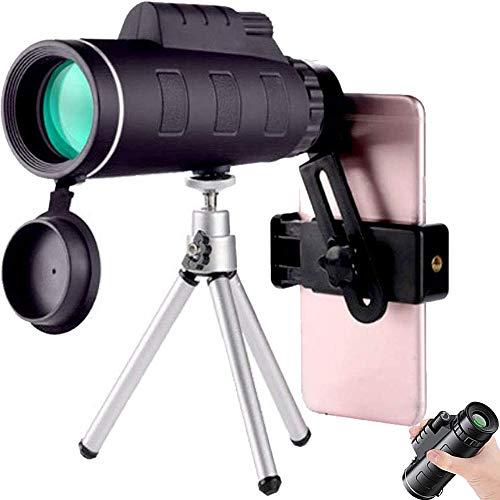 ZXHH 40 × 60 Telescopio Monocular, HD Monocular Impermeable Monoculo Telescopio, Movil con Trípode Y Adaptador para Smartphone Monoculares para, para La Observación De Pájaros, Turismo, Concierto