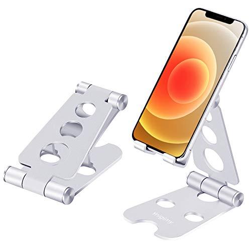 Ynigimy Teléfono Móvil Mesa, Soporte Dock Teléfono Ajustable Plegable de Escritorio, Compatible con iPad Pro, Air, Mini 2 3 4, iPhone 12 11 Pro X 8 7 6 , Switch, Samsung, Tablet y Smartphones-Plata
