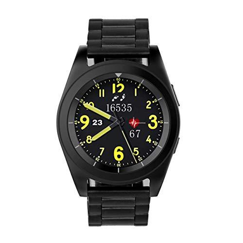 XZYP S6 Smart Watch, 1.2'Pantalla A Color Pulsera Inteligente PodóMetro Monitor De PresióN Arterial Monitor De Fitness Pulsera Inteligente con Correa De Acero para Android Y iOS,Black