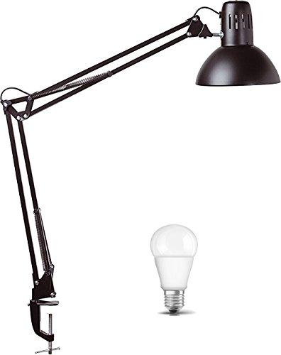 Maul Schreibtischlampe MAULstudy (Schwarz), Design Klemmleuchte Metall, Inklusive Qualitäts LED - Leuchtmittel, 470lm 2700K 15000h