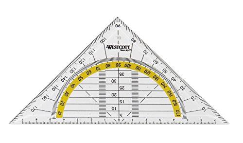 Westcott E-10130 00 Geometriedreieck Kunststoff, 14 cm, transparent - und weitere Ausführungen