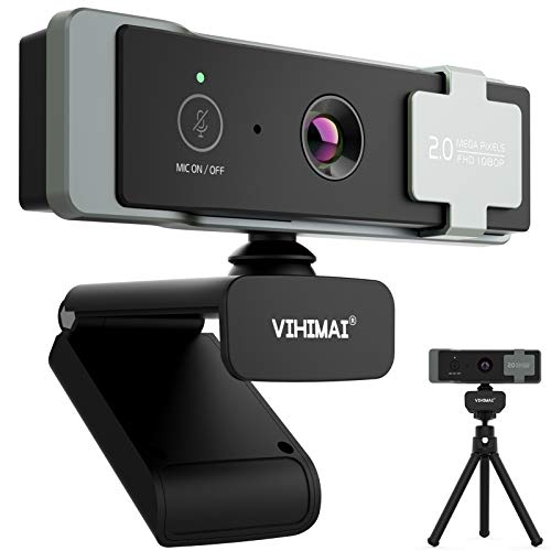 1080P Full HD Webcam with Microphone & Mute Button & Privacy Cover & Tripod Stand, USB Streaming Webcam for PC Desktop or Laptop, Zoom/Skype/YouTube/OBS, Video Conferencing, Recording