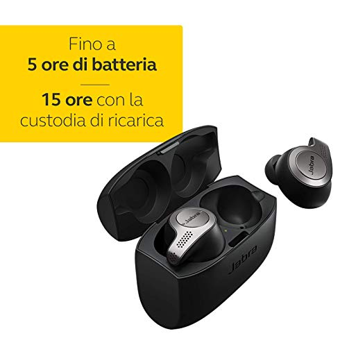 Jabra Elite 65t Cuffie Auricolari True Wireless, In-Ear, Bluetooth 5.0 con Custodia di Ricarica e Accesso One-Touch ad Amazon Alexa, Classico, Nero/Titanio