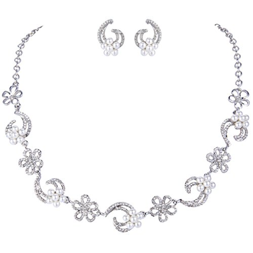 EVER FAITH Silver-Tone Austrian Crystal Simulated Pearl Elegant Hibiscus Flower Moon Jewelry Set Clear