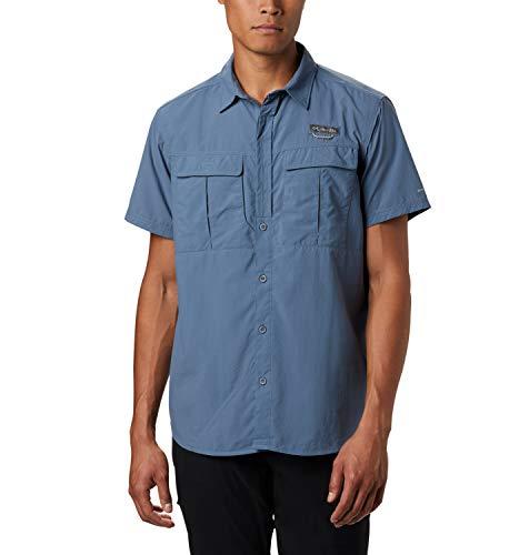 Columbia Cascades Explorer Camisa de Manga Corta, Hombre, Azul (Mountain), L
