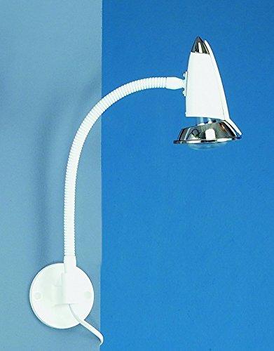 LED-Wandleuchte 1er Spot mit Schalter, Steckerzuleitung + Flexarm, weiß-chrom