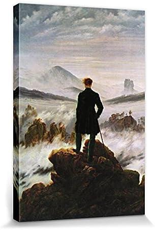 1818 1art1 Caspar David Friedrich Poster Reproduction sur Toile Le Voyageur Contemplant Une Mer De Nuages Tendue sur Ch/âssis 40 x 30 cm