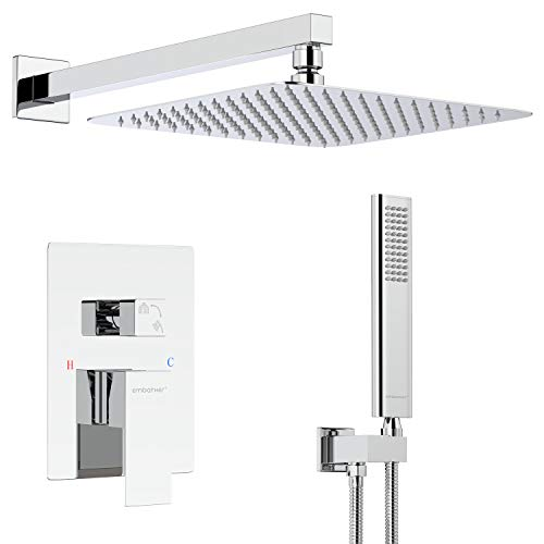 EMBATHER Shower System, Chrome Shower Faucet Sets with 12' Rain Shower Head For Bathroom, Wall Mounted Square Shower Combo Set With Adjustable Handheld Bracket(Valve Included)