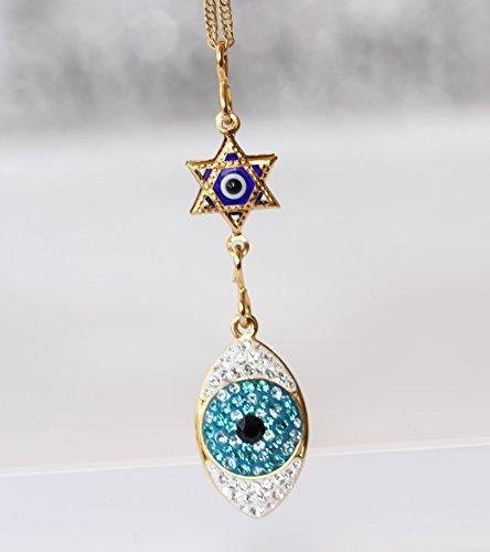 Evil Eye Necklace, Jewish Jewelry, Swarovski Pendant, Israeli Designer,Star Of David Charms,Gold...