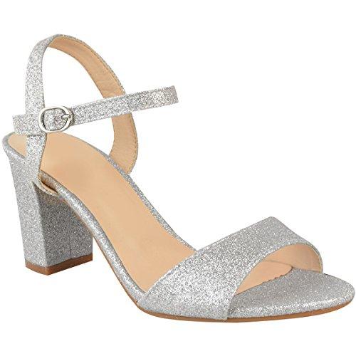 Fashion Thirsty Damen Sandaletten mit Blockabsatz & Glitzer - für Hochzeit, Abschlussball, Party - Silberfarben Glitzer - EUR 38