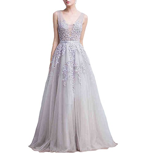 Lemai Tulle Backless Sheer Top Lace Appliques Long Beaded Prom Evening Dresses Silver US2 (Apparel)