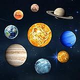Goeco 9pcs Adesivi murali luminosi, 3D freddo sfera luminosa stella sfondo, Nove pianeta decorazione fai da te per la casa, stanza del bambino