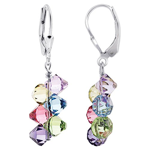 Swarovski Elements Multicolor Crystal Women's Handmade Drop Earrings with 925 Sterling Silver Secure Leverback