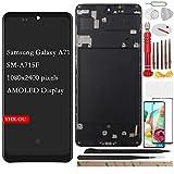 YHX-OU 6.7' para Samsung Galaxy A71 SM-A715F Pantalla LCD Juego de digitalizador táctil de repuesto con herramienta de instalación + 1 pieza de cristal templado (AMOLED-NEGRO + marco)