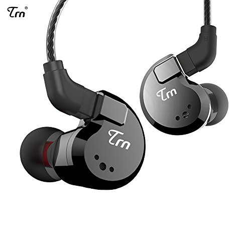 Linsoul TRN V80 2BA+2DD Quad Driver Hybrid HiFi Metal in Ear Earphone IEM with 2 Pin Detachable Cable, 1.25m (Without Mic, Black)